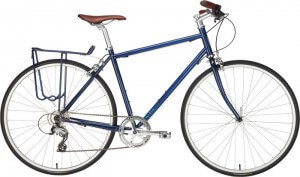 blue civia north loop bicycle with painted rear
