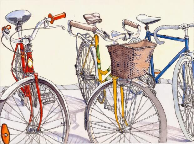 Watercolor image of three bicycles