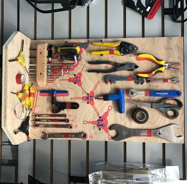 photograph of a tool board at Broadway Bicycle school
